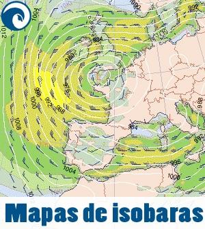mapas de isobaras para previsión de surf